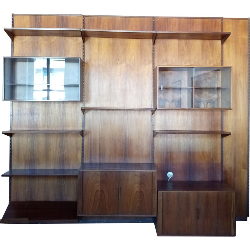 Vintage original wall unit system in rosewood from Kai Kristiansen for FM Mobler