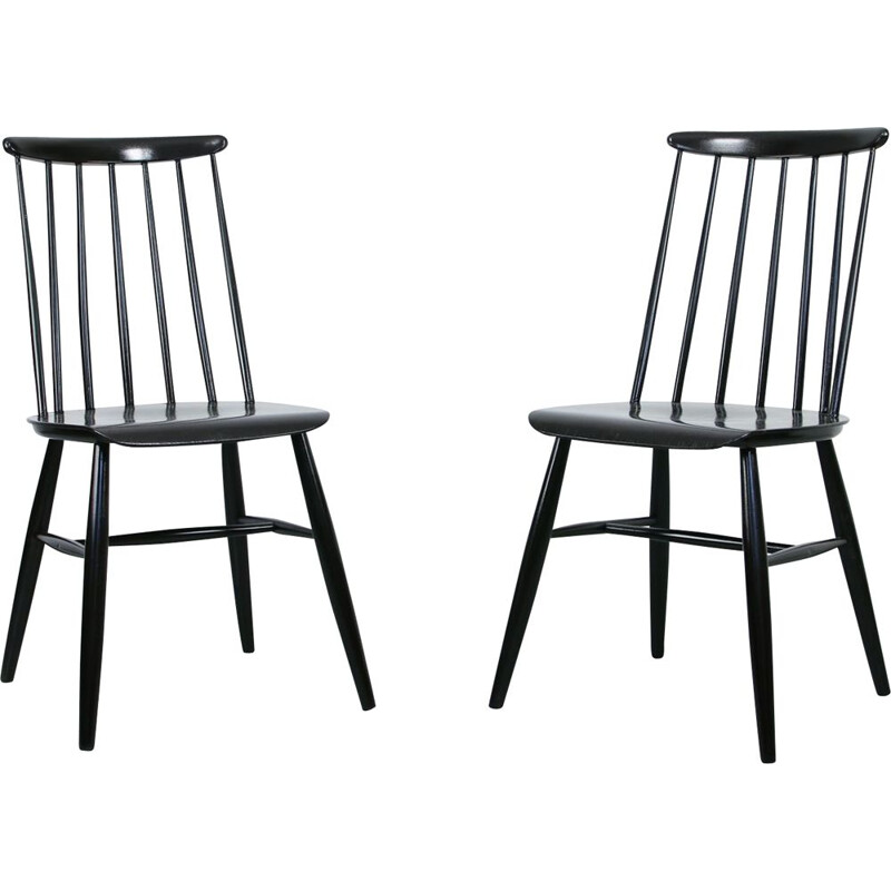 Pair of vintage Black Fanett chair by Ilmari Tapiovaara