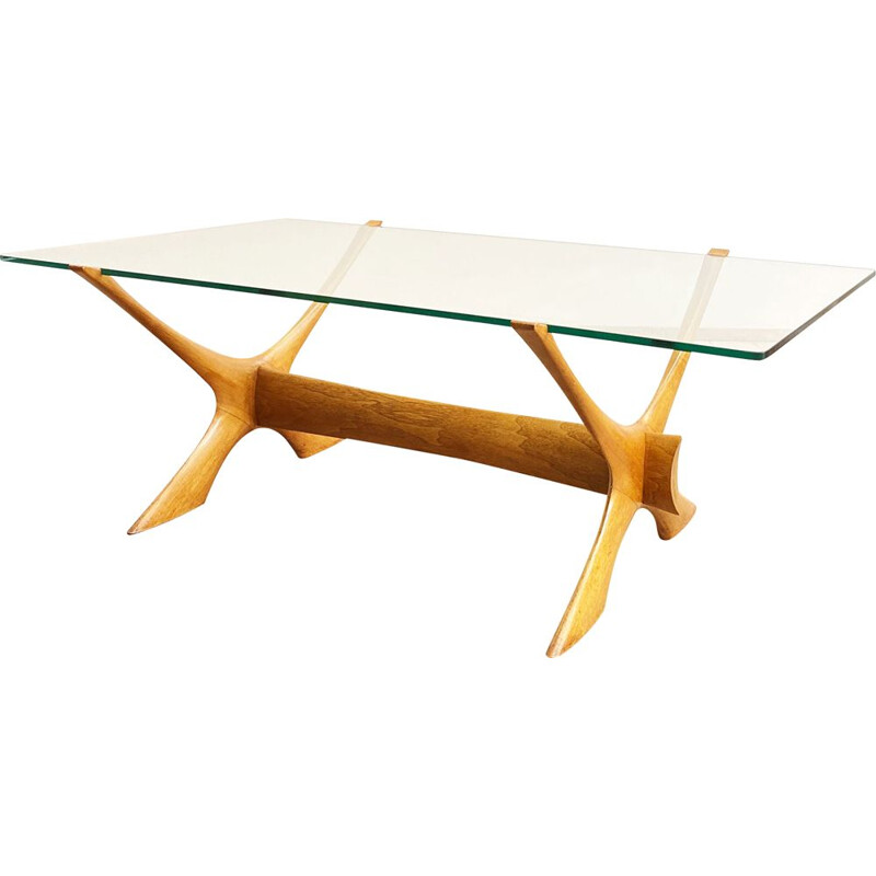 Vintage mahogany and glass coffee table by Illum Wikkelso for CF Christensen Silkeborg, Scandinavian 1960