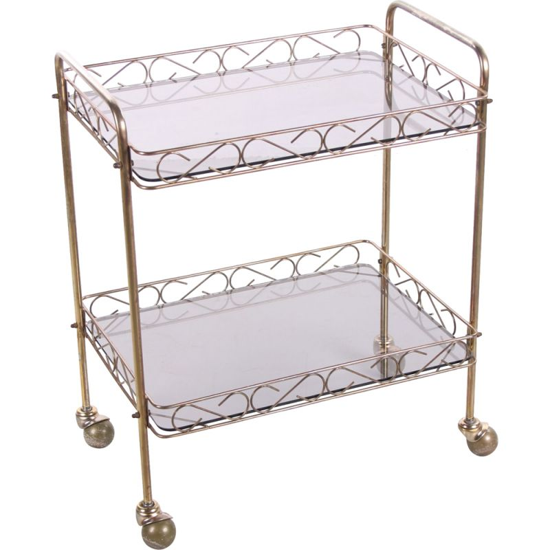 Vintage brass and glass trolley, France 1960