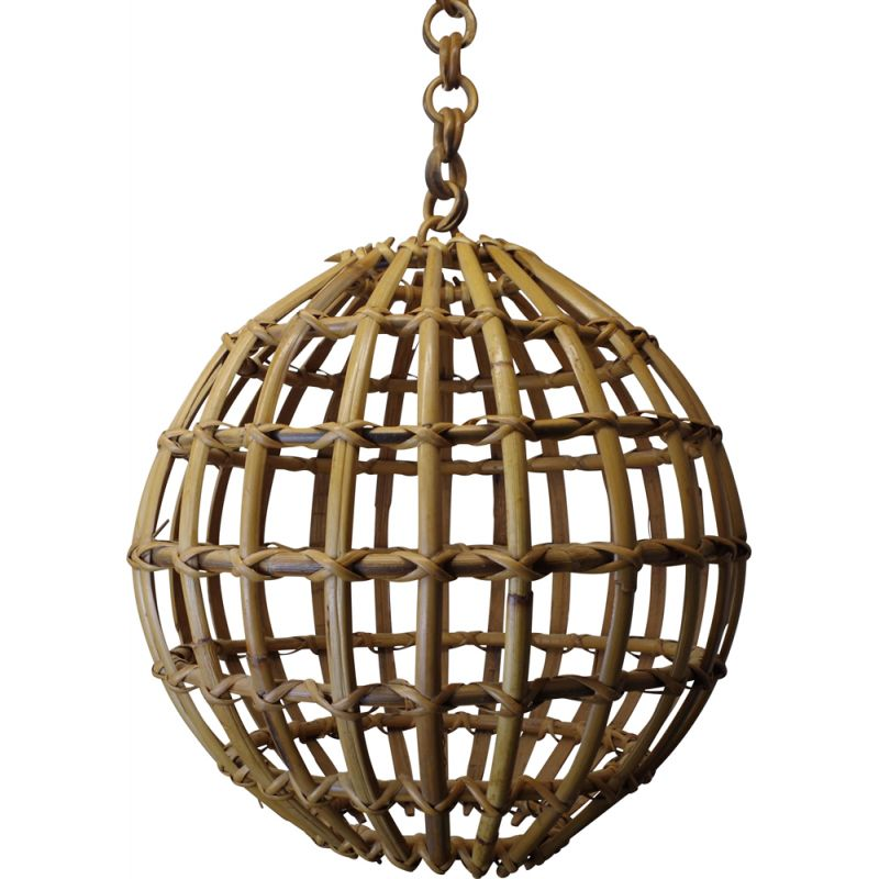 Vintage hanging lamp bamboo and rattan, 1960s