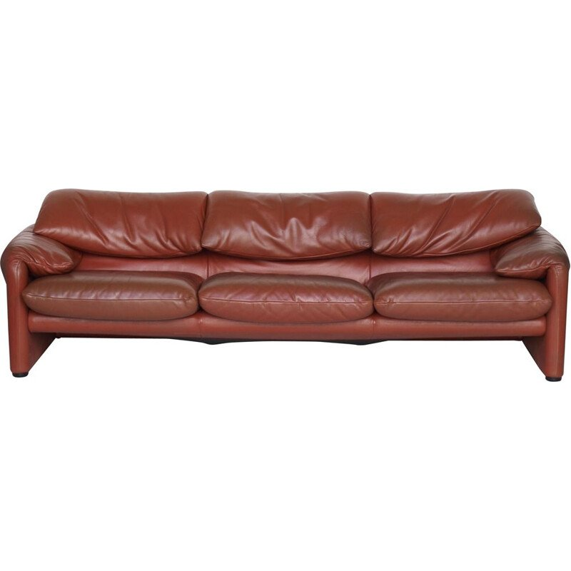 Vintage Leather Maralunga Sofa by Vico Magistretti for Cassina Italian