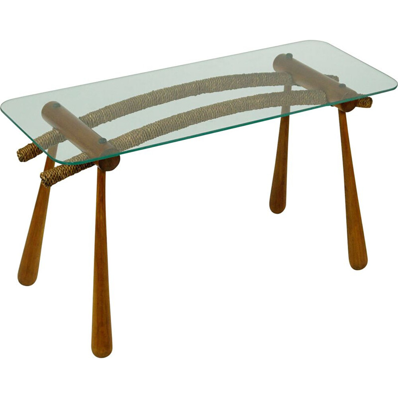 Midcentury Beechwood Side Table with Cord and Glass Top by Max Kment Austrian 1950s