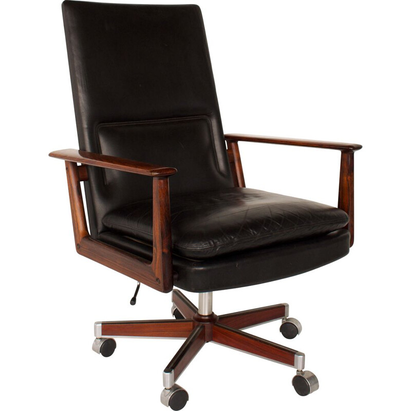 Vintage office chair by Arne Vodder, leather and rosewood for Sibast, Denmark 1960
