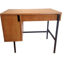 Desk in metal and oakwood, Jacques HITIER - 1950s