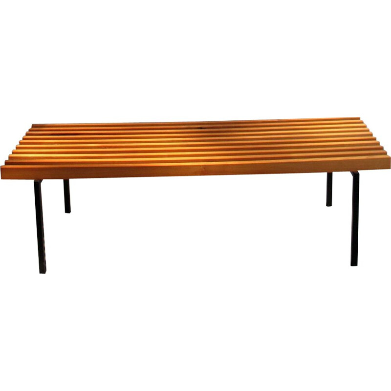 Vintage Cherry wood and metal bench 1980