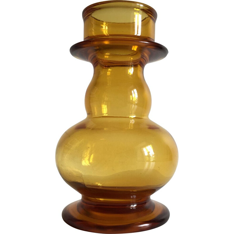 Vintage vase in thick yellow-orange glass