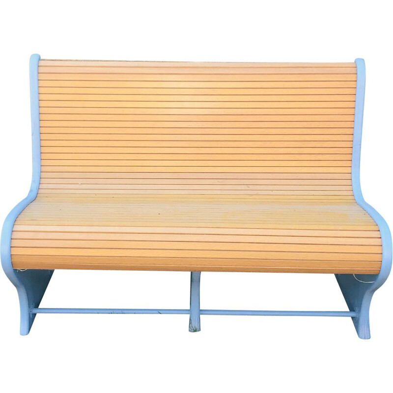 Vintage 2-seater wooden bench with slats