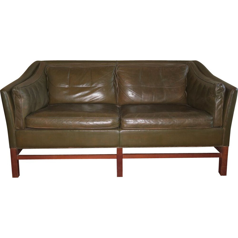 Vintage leather teak frame 2-seater sofa by Grant in dark olive green Danish 1960s