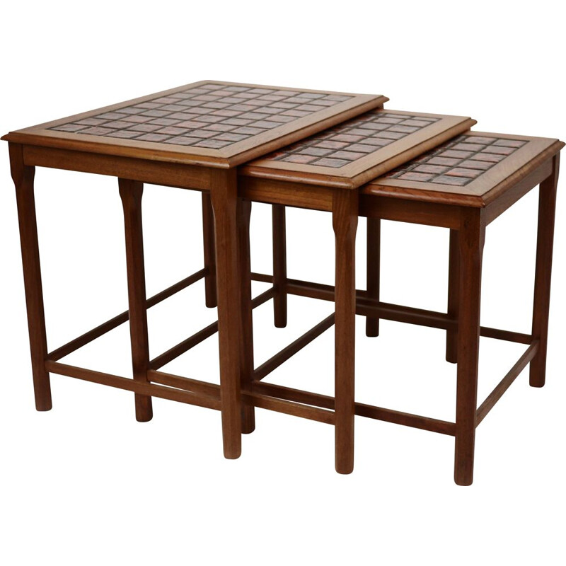 Vintage nesting tables with red check top, Danish 1970