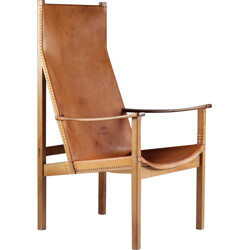 Light brown Scandinavian armchair in beech and leather, Egon JONASON - 1960s
