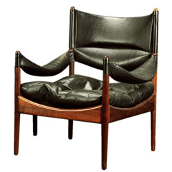 "Søren Willadsen ""Modus"" armchair in rosewood and black leather, Kristian VEDEL - 1960s"