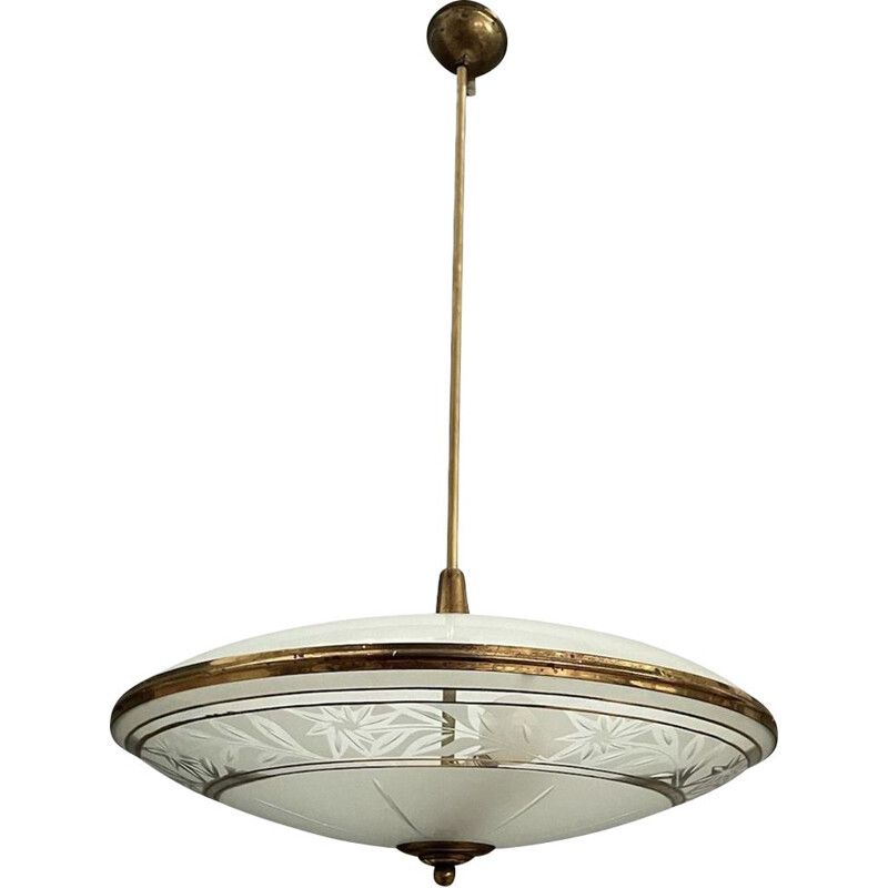 Vintage engraved glass pendant lamp by Pietro Chiesa for Fontana Arte, Italy 1950