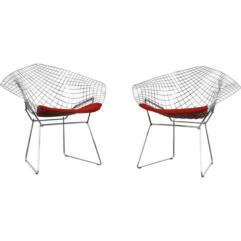 Pair of Vintage Diamond Chairs by Harry Bertoia for Knoll, 1980s