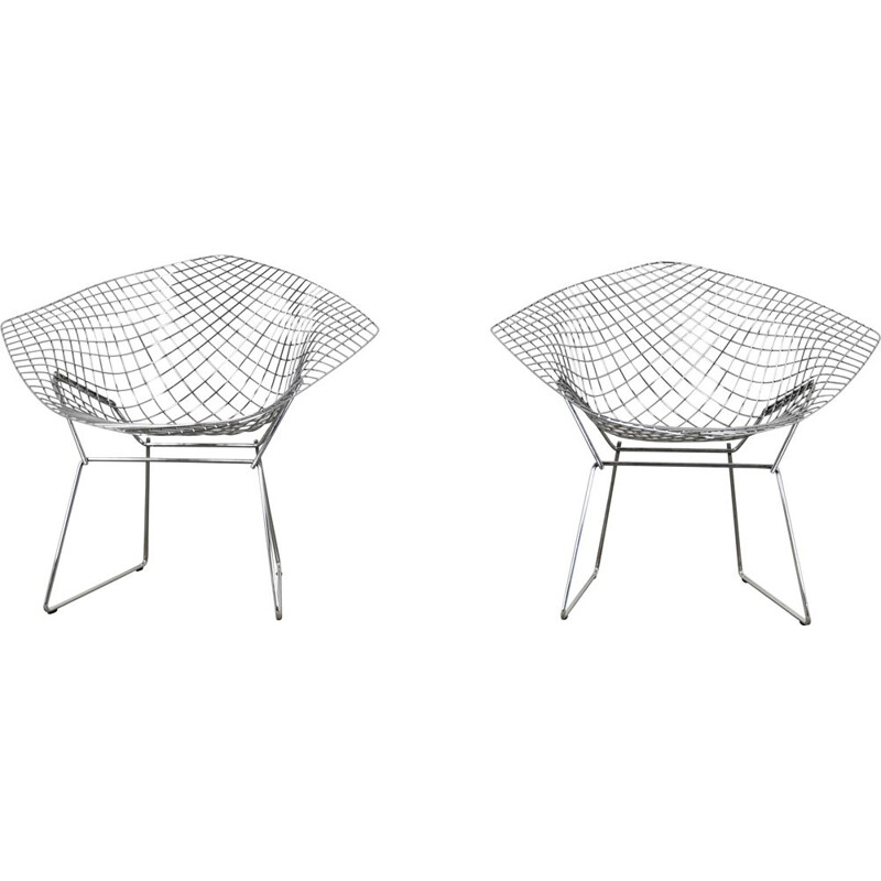 Vintage Pair of Diamond Chairs by Harry Bertoia for Knoll 1980s