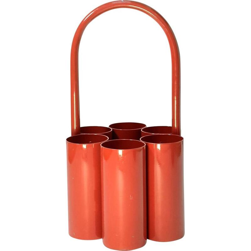 Vintage Red Bottle Caddy Carrier Space Age 1960s