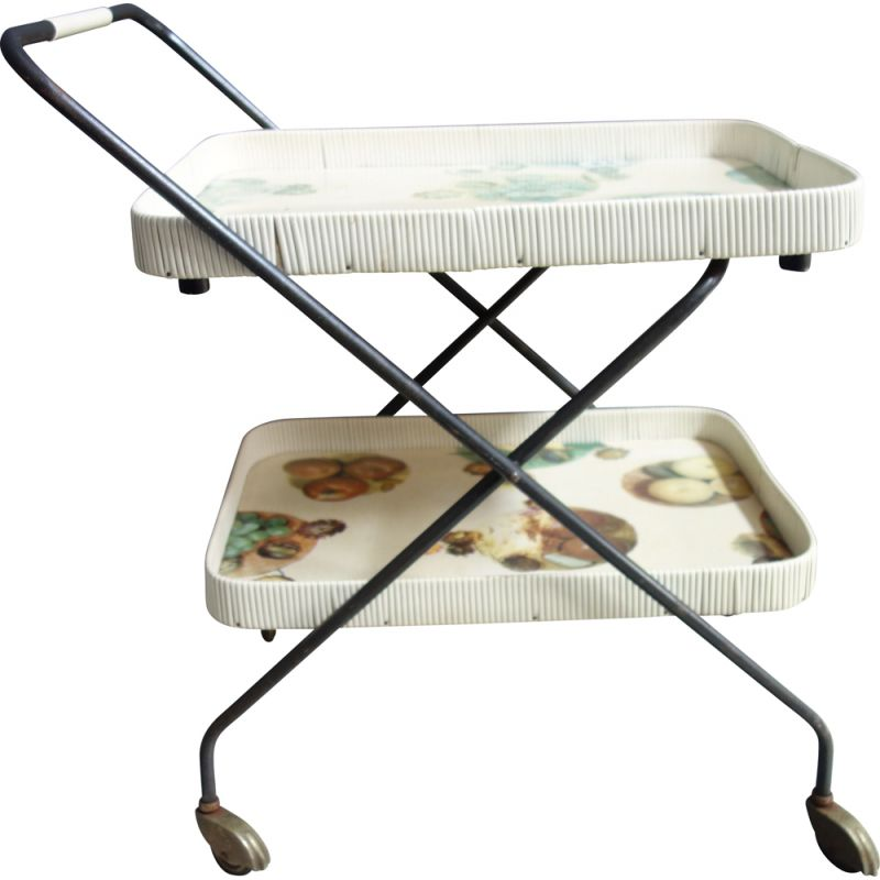 Vintage Serving trolley 2 tier foldable 1960s