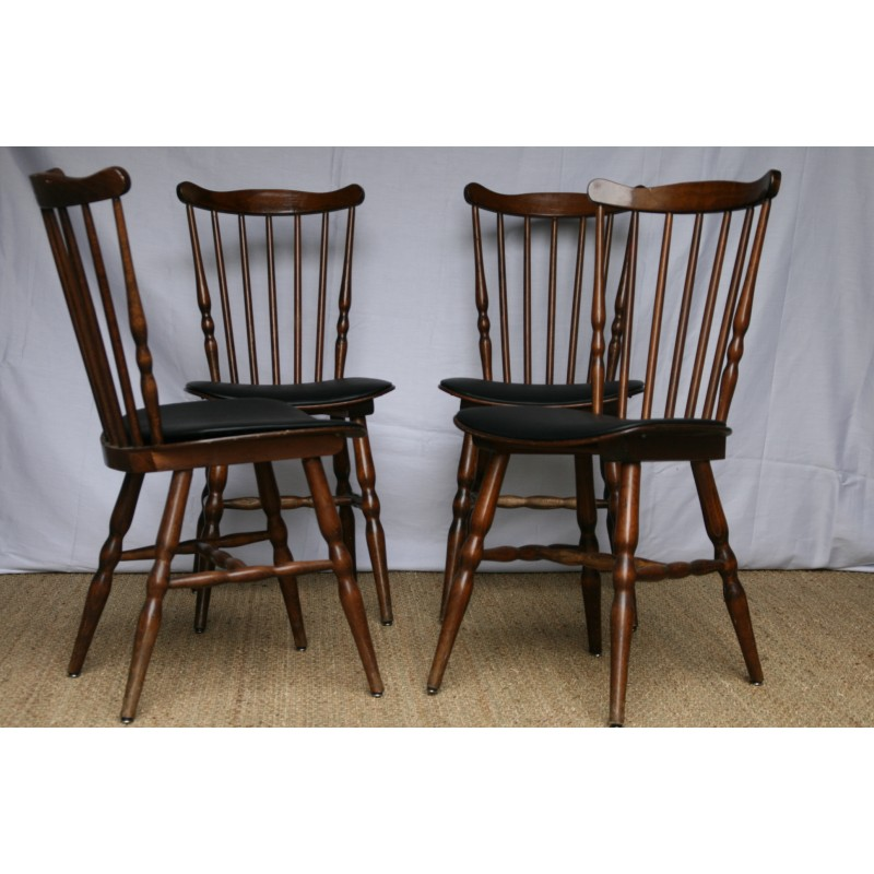 """Xavier Leatherette Dining Chair Black: Set Of 4 Baumann """"Tacoma"""" Dining Chairs In Black"""