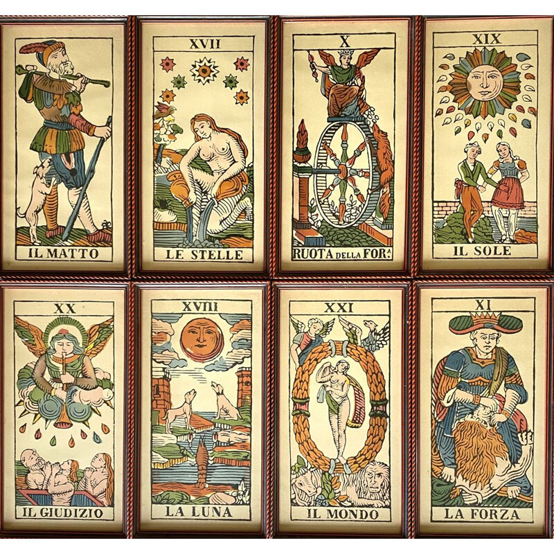 Vintage lithographed tarot cards lot of 8 Italy 1950s