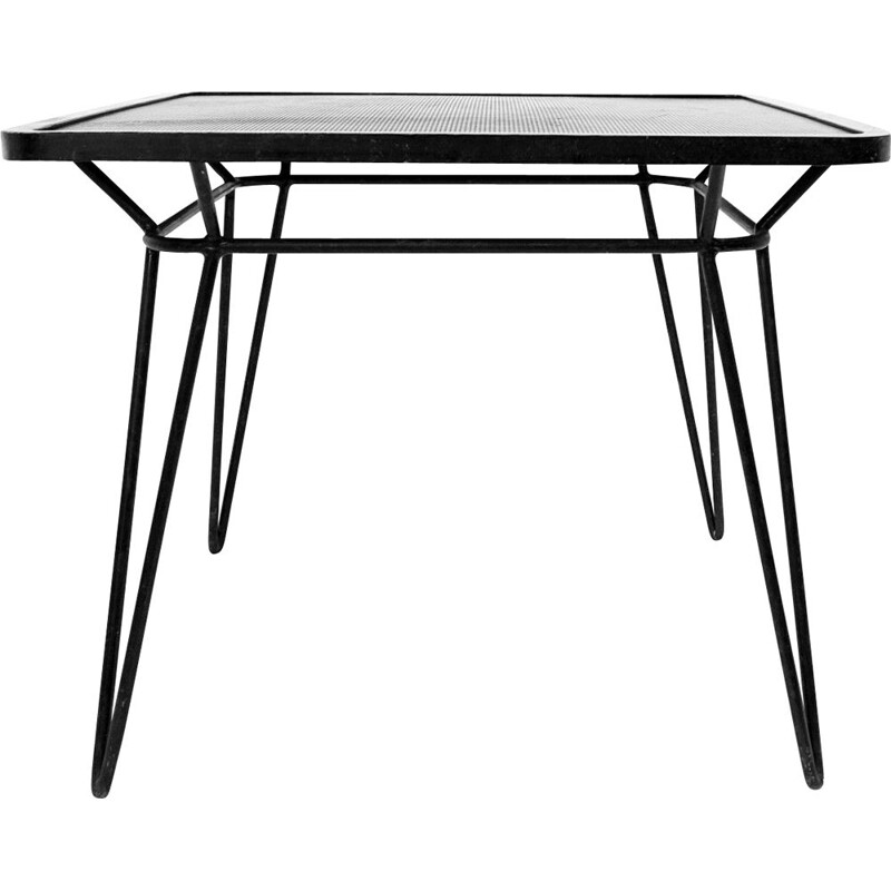 Vintage Square  table in wrought iron by Ico parisi