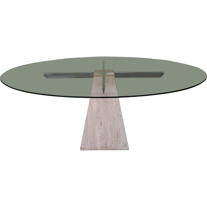 Vintage travertine pyramid table and glass Italy 1970s