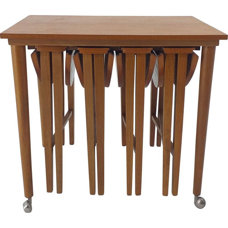 Vintage stools and table by Poul Hundevad Denmark 1960s
