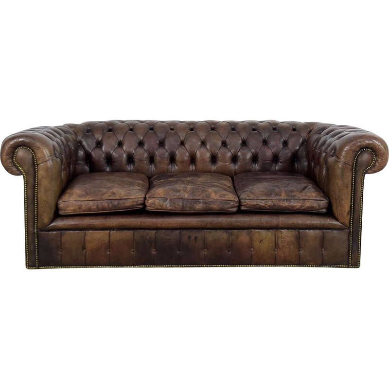Vintage large antique brown leather sofa England 1920s