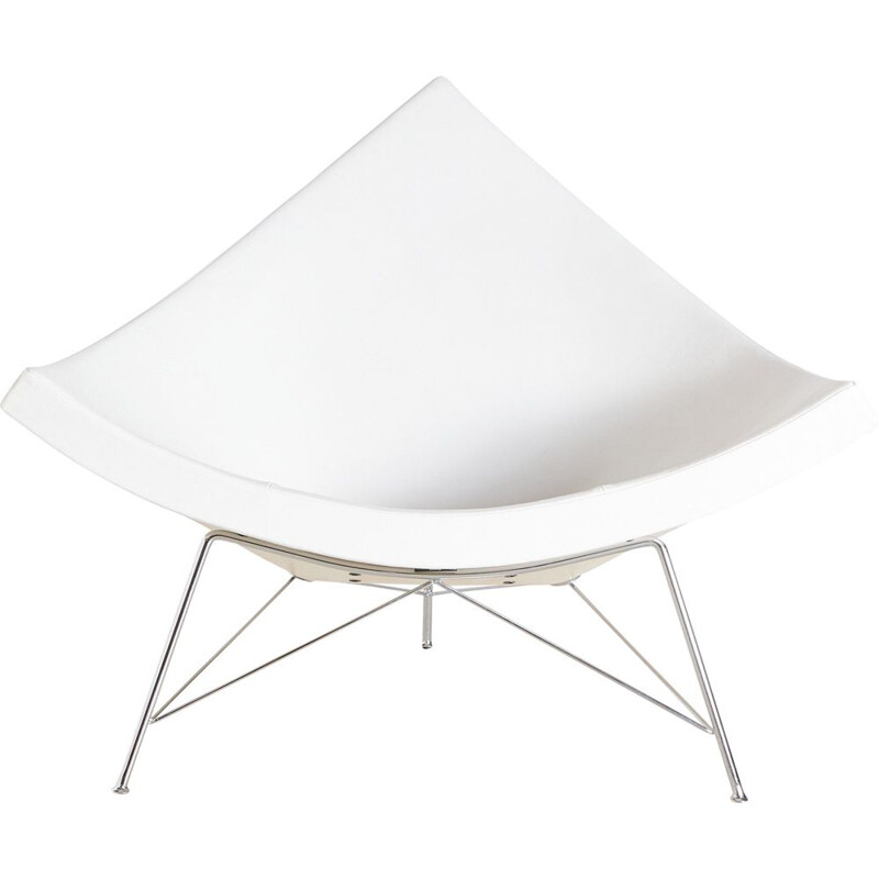 Vintage white coconut chair by George Nelson 1955s