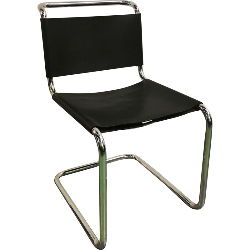 Vintage chrome-plated tubular steel chair by Bauhaus