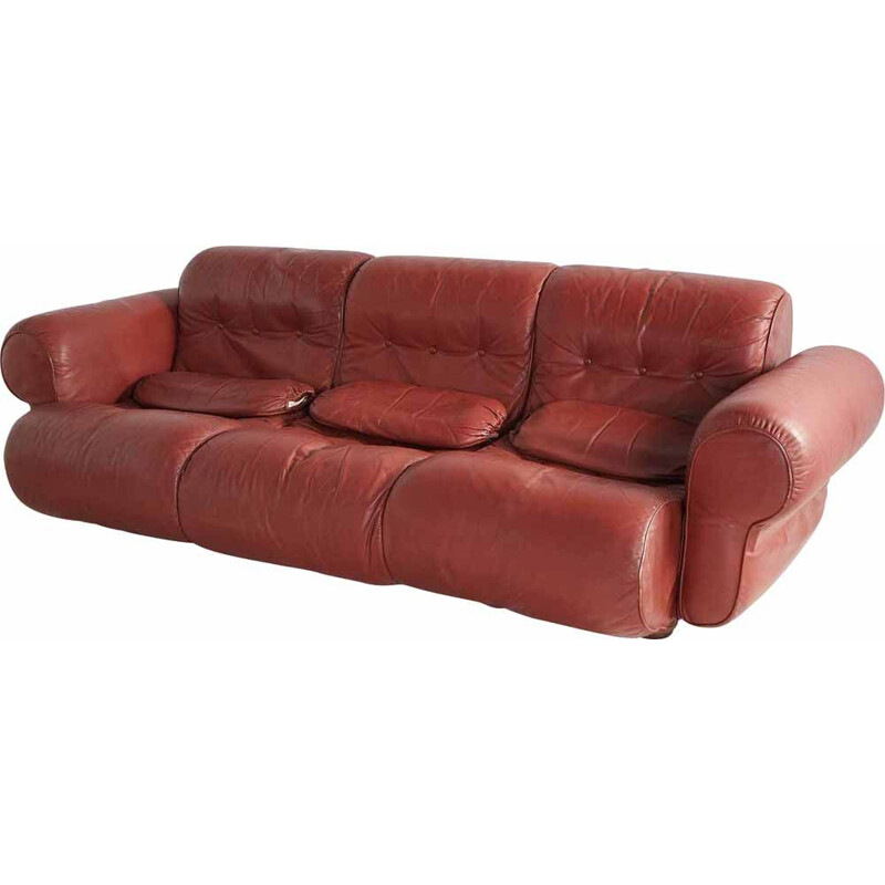 Vintage Brown leather living room with cylindrical head 1960s