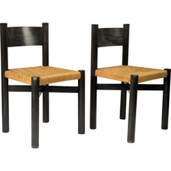 """Pair of Steph Simon """"Méribel"""" chairs in ashwood, Charlotte PERRIAND - 1950s"""