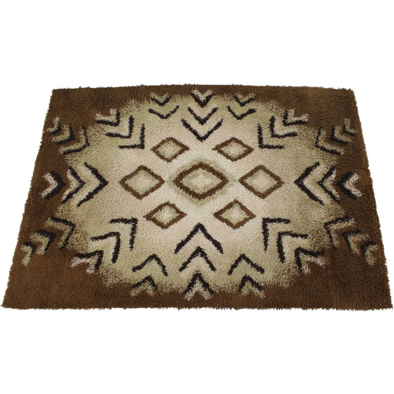 Vintage abstract wool rug Denmark 1960s