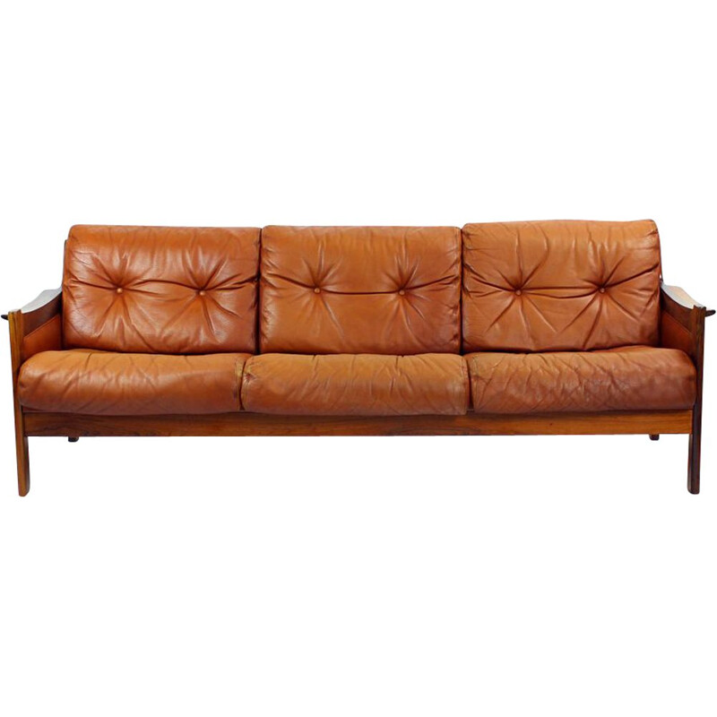 Vintage Cognac leather and solid rosewood  sofa 1970s