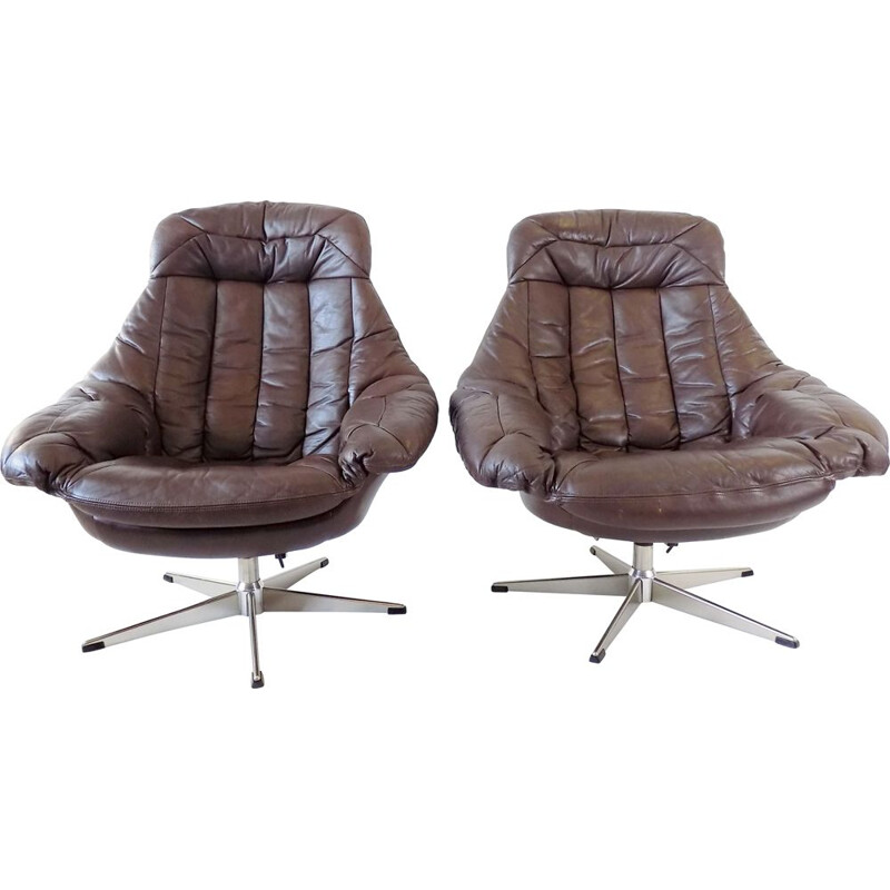 Vintage Brown leather armchair by H.W. Klein 1970s