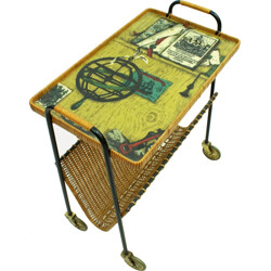 Serving trolley in metal and rattan - 1950s