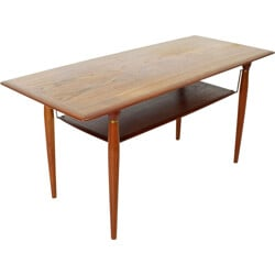 Scandinavian coffee table in teak with brass details - 1960s