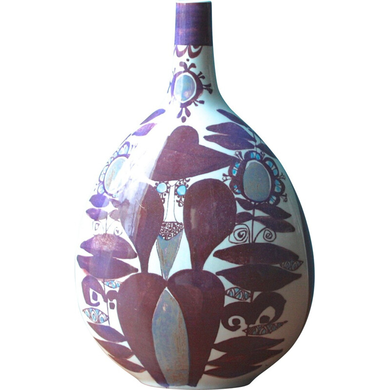 Purple Royal Copenhagen vase in faience, Kari CHRISTENSEN - 1960s