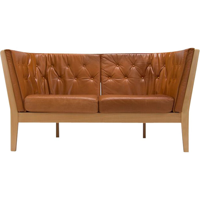 Vintage leather sofa by Stouby Denmark 1970s