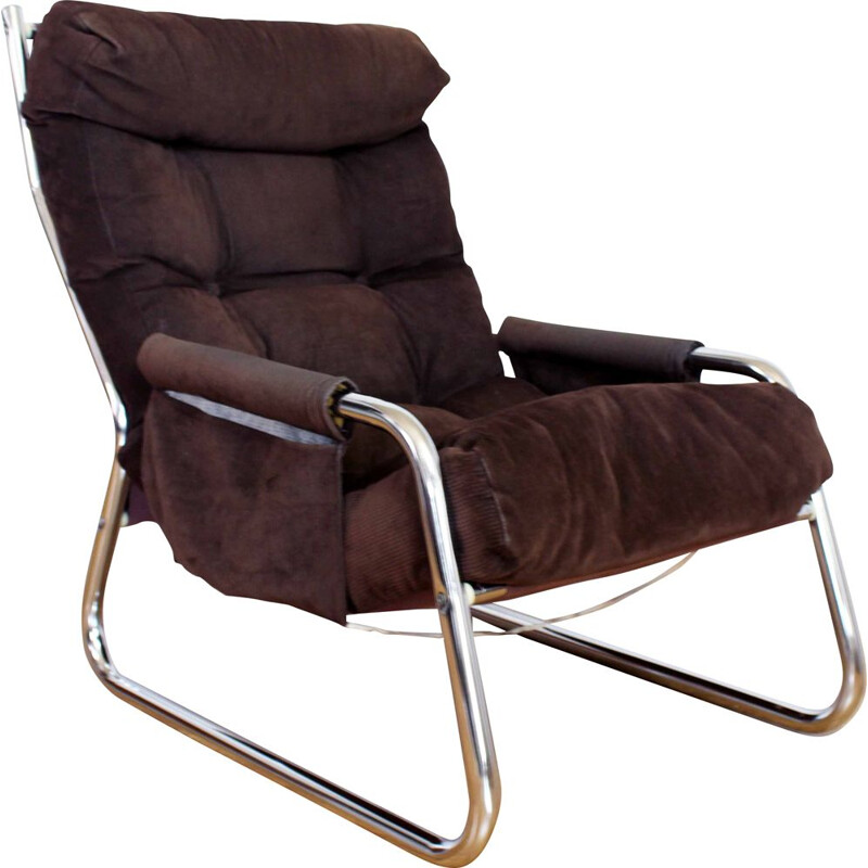 Vintage armchair in velvet and metal tubular structure 1970s