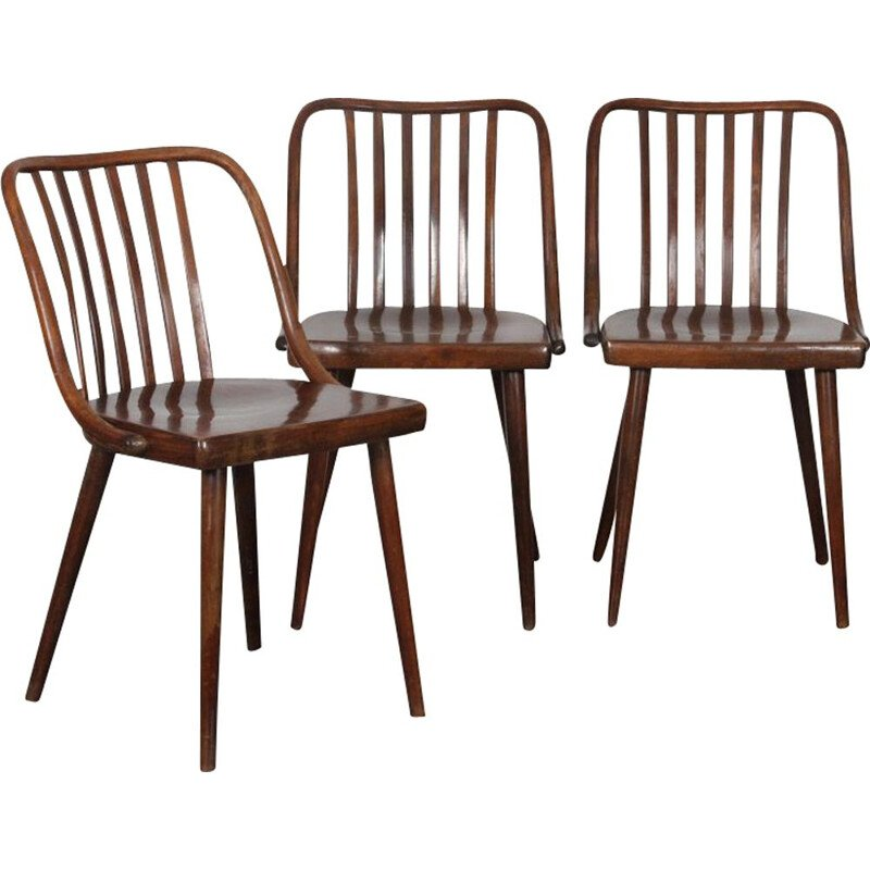 Set of 3 vintage chairs by Antonin Suman for Ton 1960s