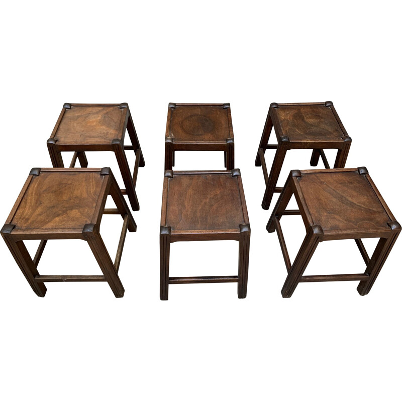 Set of 6 vintage stools from the resort of Les Arcs 1970s