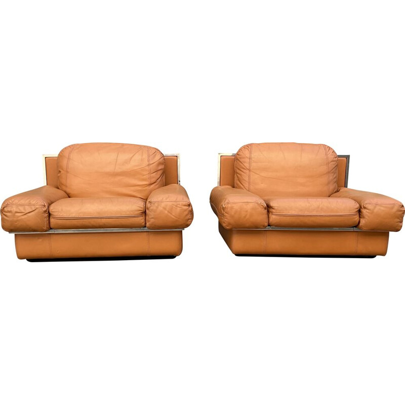 Pair of vintage leather club chairs by Steiner France