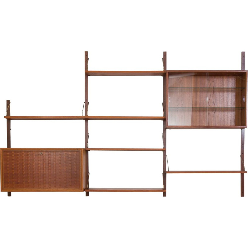 Vintage teak wall unit by Cadovius Denmark 1960s