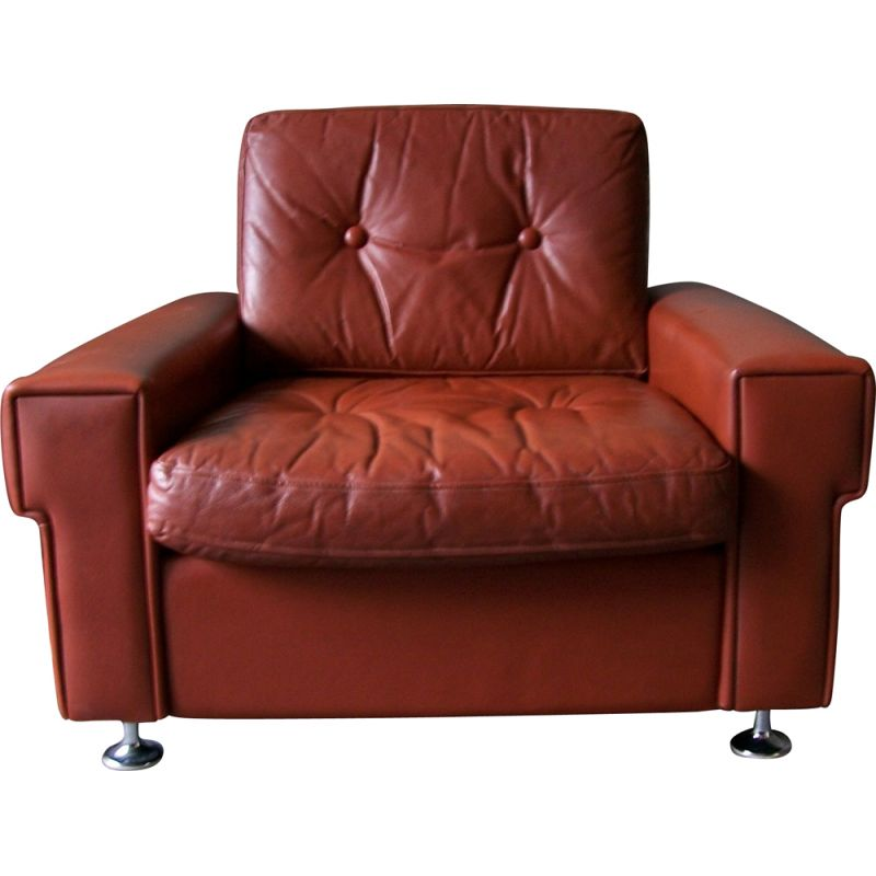 Vintage red-brown leather armchair 1970s