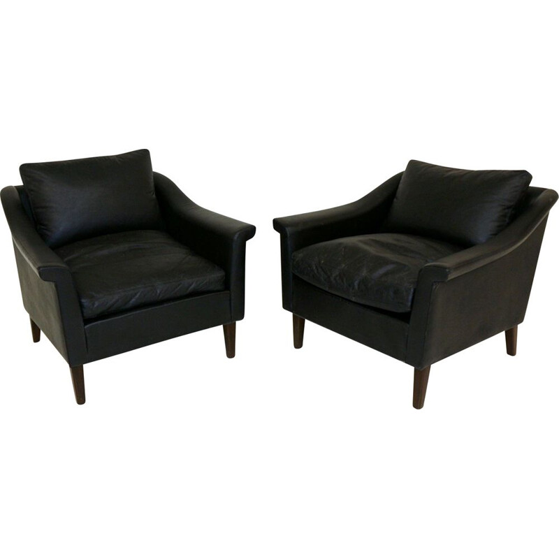Pair of  vintage scandinavian leather armchairs 1960s
