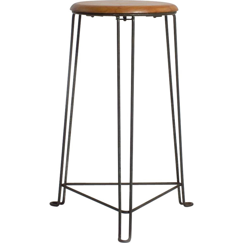 Vintage metal stool with wooden seat