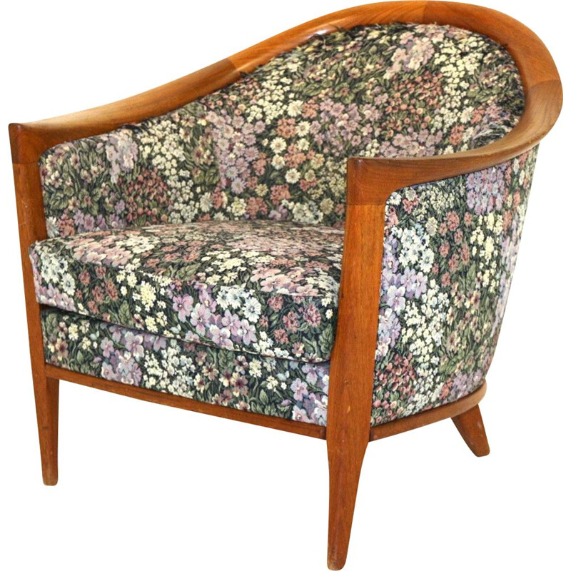 Vintage armchair with teak wood structure and fabric seat and back 1960s