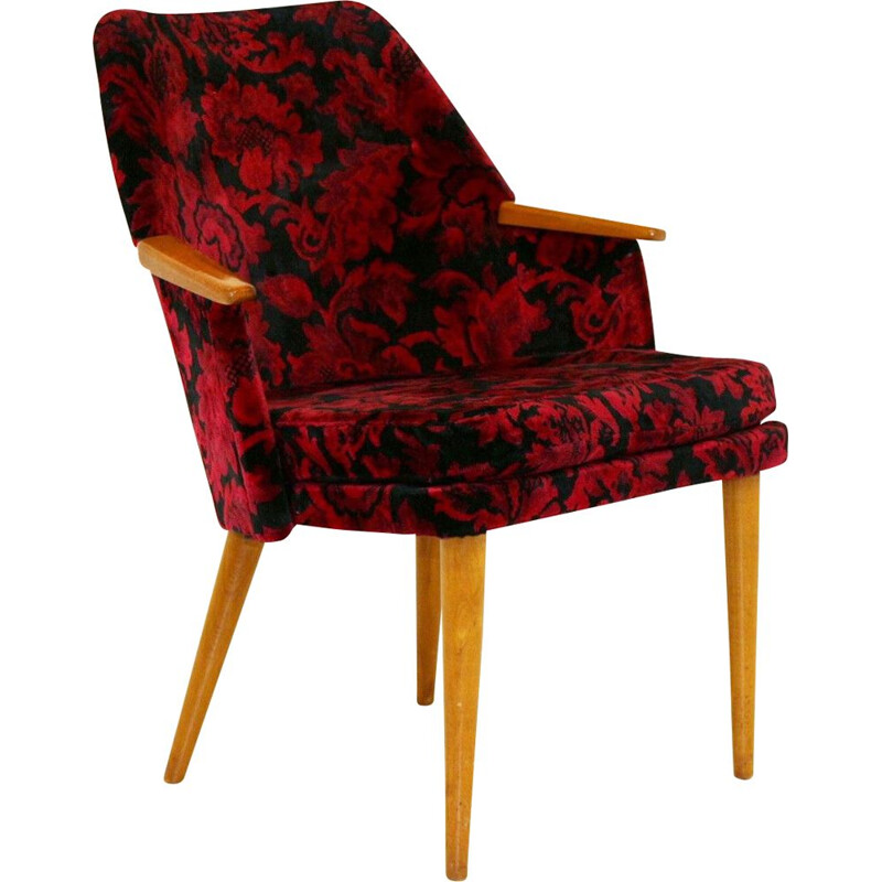 Vintage armchair with floral fabric seat Sweden 1950s