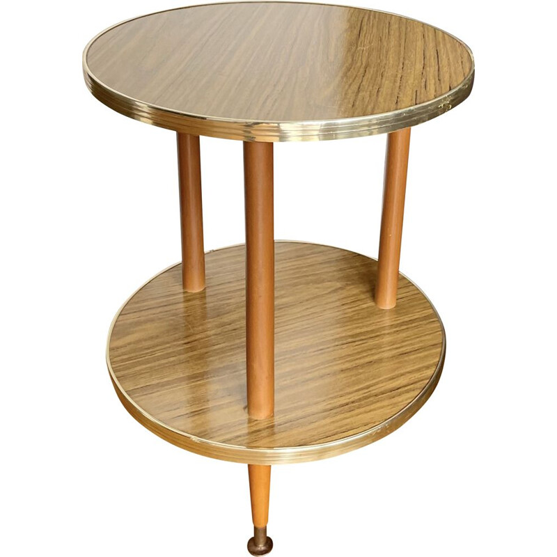 VintageRound  formica side table 1960s