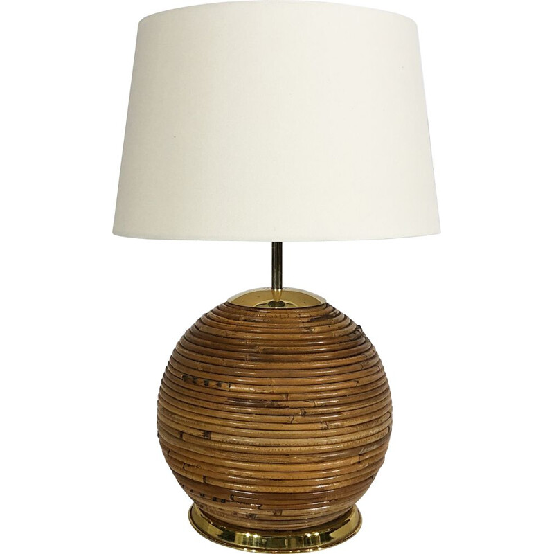 Vintage bamboo table lamp by Gabriella Crespi Italy 1970s